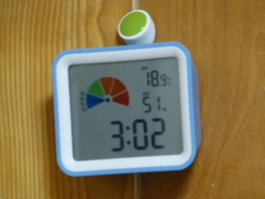 11/4の室温と湿度 2014:11:04 03:03:13